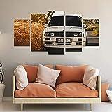 BHJIO 5 Piezas Cuadros Modernos Impresión De Imagen Artística Digitalizada Lienzo Decorativo para Tu Salón O Dormitorio BMW 325I E30 M3 E36 E46 Classic Car Regalo 150 X 80 Cm.