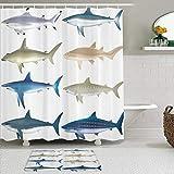 GugeABC Rideaux de Douche et Tapis de Bain,Types d'animaux Marins d'ange Vache Marteau Requins de Sable mammifères espèces Graphiques Nautiques,Rideaux de Bain avec 12 Crochets,Tapis antidérapants
