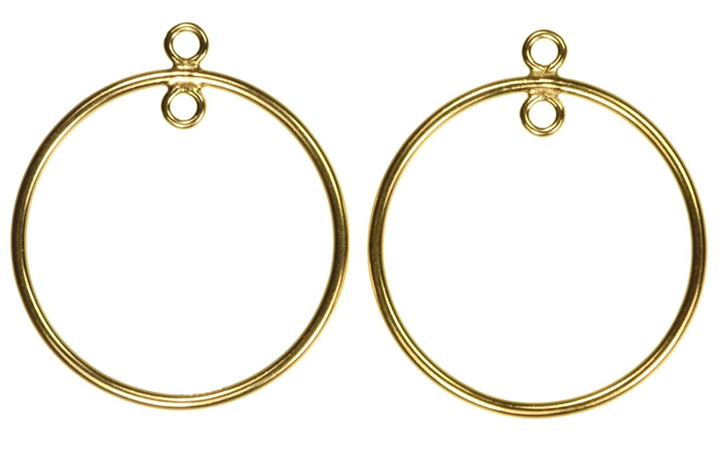 2 14K Gold Filled 25mm Round Drops w/Closed Jump Rings Insiide & Outside