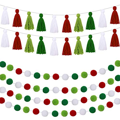 6 Pieces Christmas Banner Decorative Wall Hanging Include 4 Pieces Pom Pom Ball Garland and 2 Pieces Cotton Tassel Garland Colorful Tassel Banner for Christmas Birthday Baby Shower Home (Mixed Colors)
