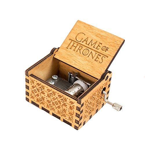 Meiion - Carillon in legno intagliato a mano, stile antico, con manovella, Legno, Game of Thrones, taglia unica