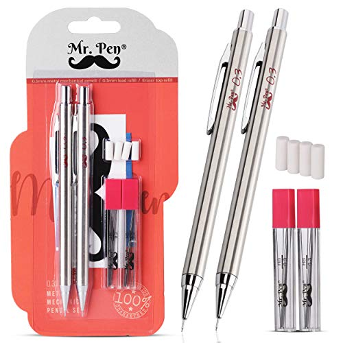 Mr. Pen- Mechanical Pencils 0.3, Pack of 2, Metal Mechanical Pencil with Lead and Eraser, Drafting Pencil, Drawing Pencil, Mechanical Pencil, 0.3 Mechanical Pencils, Artist Mechanical Pencils, 0.3mm