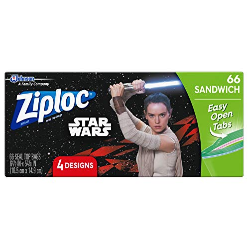 Ziploc Sandwich Bags, Easy Open Tabs, 66 Count- Featuring 4 Different Star Wars Designs