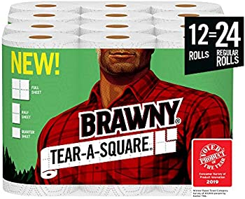 12-Count Brawny Tear-A-Square Paper Towels, 24 Regular Rolls