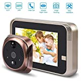 OWSOO 2.4 LCD Mirilla Digital Timbre de Puerta 160 /° HD IR C/ámara Vision Nocturna Tres Modos de Trabajo Opcionales Tomar Fotos//Grabar Videos Tarjeta TF para Seguridad de Hogar