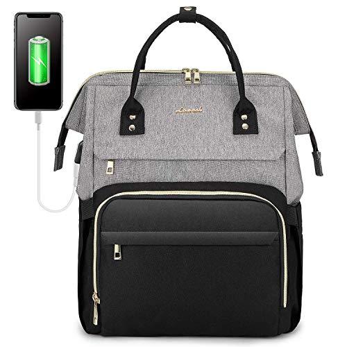 LOVEVOOK Rucksack Damen mit Laptopfach 17 Zoll, Laptop Rucksack wasserdicht, Schulrucksack Tasche mädchen mit USB Ladeanschluss, Grau Schwarz