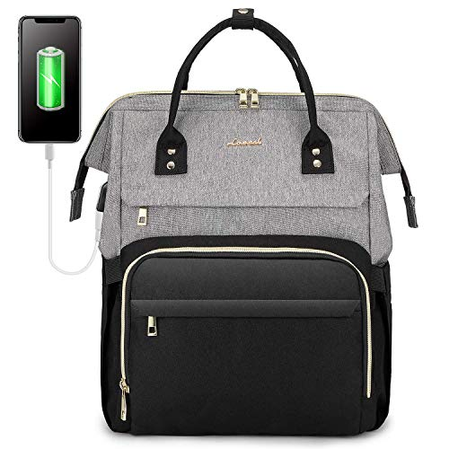 LOVEVOOK Laptop Backpack for Women Travel Business Computer Bag Purse Bookbag with USB Port Fits 17-Inch Laptop Grey Black