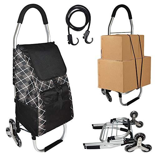 Zusammenklappbarer Einkaufstrolley auf 6 Rädern, Treppensteiger-Einkaufswagen, schwarzer Einkaufswagen mit Edelstahl-Aluminium-Rahmen und abnehmbarer, wasserdichter Canvas-Tasche