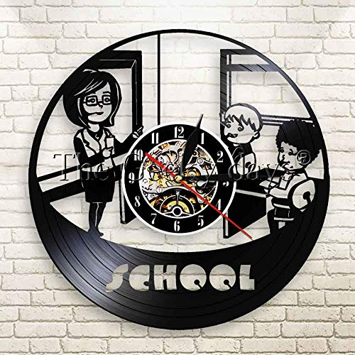 FDGFDG Classroom Teacher and Students Contemporary Wall Clock Teacher Time Vintage Vinyl Record LP Clock Nursery Decor