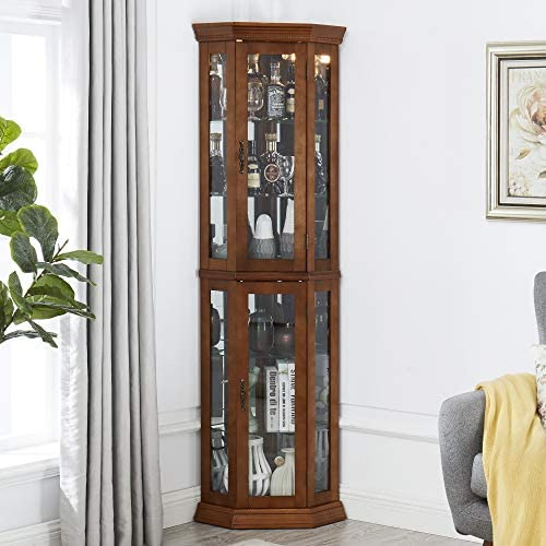 CHADIOR Corner Curio Display Cabinet with Tempered Glass Doors Adjustable Shelves and Light product image