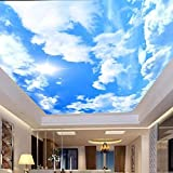 Sky Ceiling 3D Wallpapers White Clouds Wall Mural Bedroom Living Room Ktv Bar Wall Paper Self Adhesive Blue Background Wall Painting 137x98in