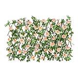 Wangduodu Enrejado de Vallas en expansión Seto de Madera retráctil con Hojas de Flores Artificiales Pantalla de privacidad Enrejado en expansión para la decoración del balcón del Patio Trasero