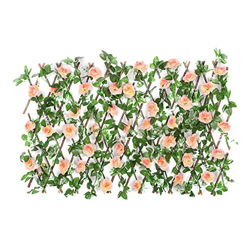 shuiguo Expandable Faux Privacy Fence, Wooden Hedge with Artificial Flower Leaves, Stretchable Privacy Screen with Trellis for Garden Decoration