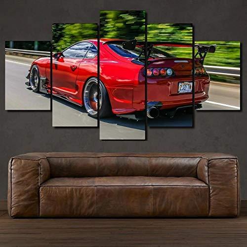 Toyot Supra Red Sports Car 5 Pezzi Quadri Moderni Dipinti Foto per Soggiorno Camera da Letto Divano TV Sfondo Home Gym Decor - 30x80cmx1pcs, 30x40cmx2pcs, 30x60cmx2pcs