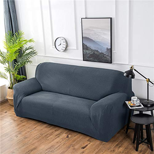 NOBCE Funda de sofá elástica de Color sólido para Sala de Estar Funda de sofá de Esquina seccional de Estilo en L elástica Universal Fundas de sofá Gris Oscuro 235-310CM