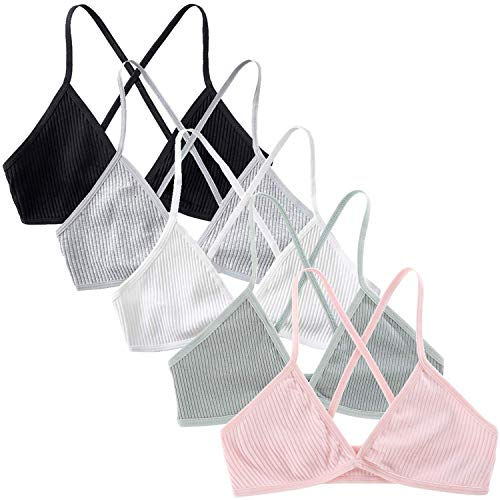Peachat Triangle Bralette for Women A/B Cups Ribbed X Back Lightweight Thin Strap Bralette V Neck Pull On Unpadded Bra (5Pack(BGWPG), S)