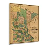 Historix Vintage 1874 Minnesota Map Poster - 20x24 Inch Township and Railroad Vintage Map of Minnesota - Wall Map of Minnesota Wall Art - Vintage Minnesota Map Poster - Minnesota Wall Decor (2 sizes)