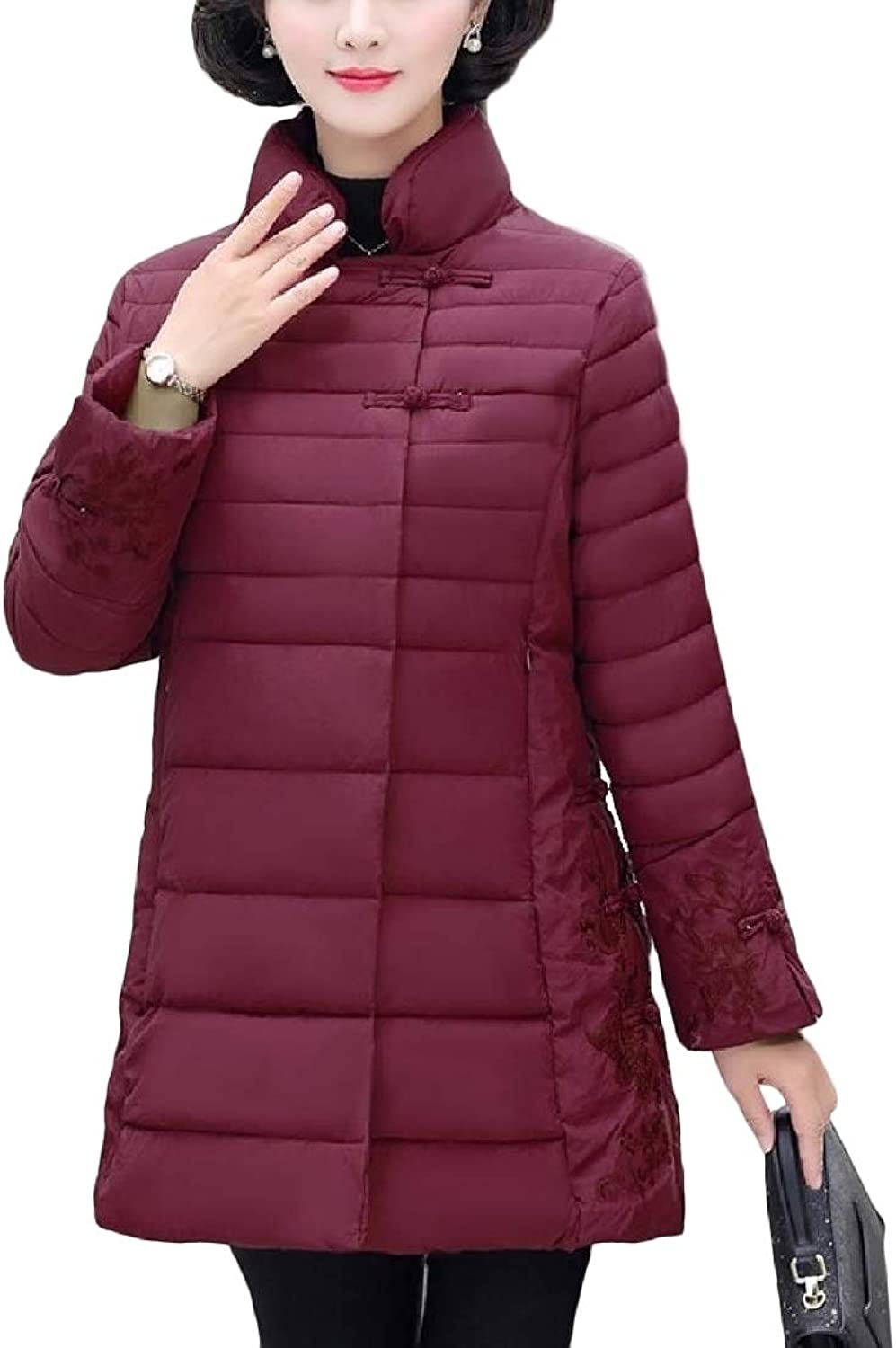 XTRENM Women Light Weight Mao Collar Embroidery Relaxed Fit Padded Coat