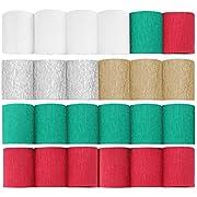 CAVEEN Papier Crêpe de Noël, Papier Crépon de Décoration de Noël Papier Crépon avec des Couleurs de Thème de Noël - 7 Rouge 7 Vert 4 Blanc 3 Or 3 Argent (10m*5cm, 24 Rouleaux)