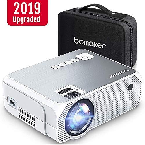 BOMAKER Beamer unterstützt 1080P Full HD Native 720P Auflösung 3600 Lumen mit tragbarer Tasche,LED Videoprojektor,Verbindung mit HDMI VGA SD USB AV Gerät, Heimkino -Grau