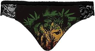 INTERESTPRINT Bikini Tanga Panties with Black lace for Women Happy Farm Animals