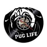 Enofvd Bulldog Perro Reloj de Pared Perro Raza Disco de Vinilo Reloj de Pared Cachorro Mascota Pug Animal Reloj de Pared Bulldog Perro Amante Regalo 12 Pulgadas