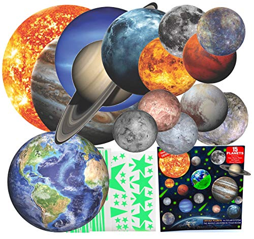 Glow in The Dark Stars and Planets for Ceiling 3D Realistic Solar System Wall Stickers, All Glowing Planets Dwarf Pluto, Birthday Bonus Over 200 Stars Shooting Stars