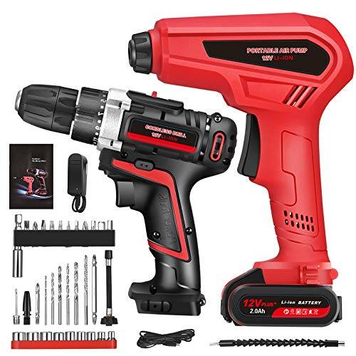 12V Cordless Drill and Tire Inflator Air Compressor Combo Kit for Home Projects, Variable Speed Impact Drill Set with Portable Air Compressor Pump, 2Ah Battery & 33 Pcs Accessories