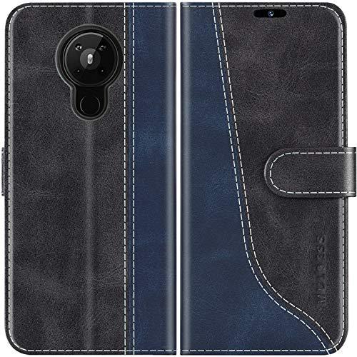 Mulbess Handyhülle für Nokia 5.3 Hülle Leder, Nokia 5.3 Handy Hülle, Modisch Flip Handytasche Schutzhülle für Nokia 5.3, Schwarz