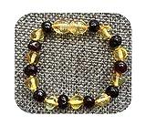 Bracelet Pulsera de dentición de ámbar para niños y niñas, regalo de ámbar báltico natural, joyería para adultos, tobilleras de 13 a 23 cm - 1 oro 1 cereza-18 cm pulsera para mujer