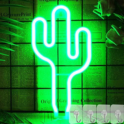 YIVIYAR Leuchtreklame LED Kaktus Deko Lichtschilder für Schlafzimmer Dekor Licht, USB / Batterie Betrieben Nachtlicht LED Cactus Lampen Cooles Gadget Wand Deko für Wohnzimmer Geburtstag Party(Cactus)