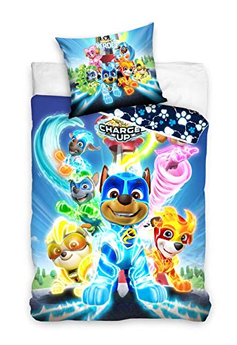 PAW Patrol Bettwäsche Mighty Pups Charged Up Kinderbettwäsche 135x200 + 80x80 cm 100% Baumwolle