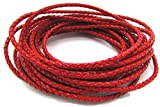 3mm Round Folded Genuine Leather Cords for Bracelet Necklace Jewelry Making 5 Meters (Red)