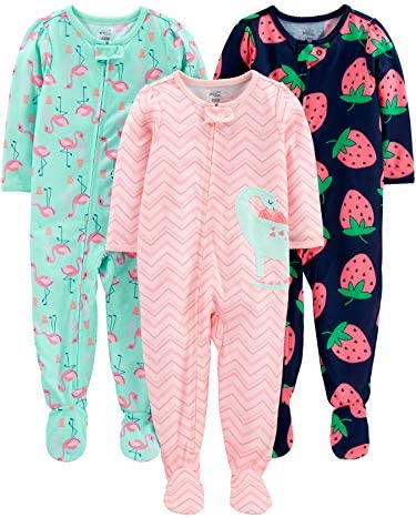 Simple Joys by Carter s Girls 3 Pack Loose Fit Flame Resistant Polyester Jersey Footed Pajamas product image