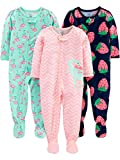 Simple Joys by Carter's Girls' 3-Pack Loose Fit Flame Resistant Polyester Jersey Footed Pajamas, Dino/Strawberry/Flamingo, 12 Months
