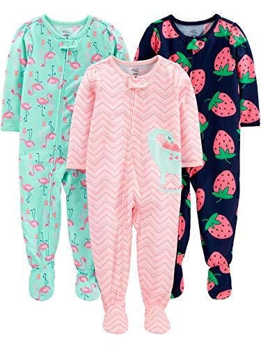 Simple Joys by Carter's pijama de poliéster suelto para bebés y niñas pequeñas, paquete de 3 ,Dino/Strawberry/Flamingo ,12 Meses