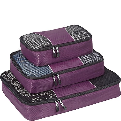 eBags Classic Packing Cubes for Travel - 3pc Set - (Eggplant)