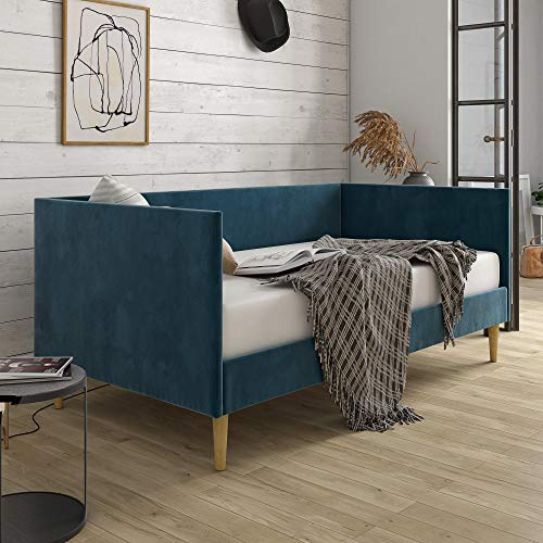 DHP Franklin Mid Century Upholstered, Twin Size, Blue Velvet Daybed,