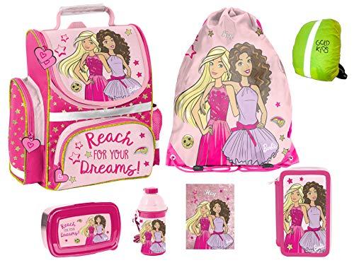 Barbie Schulranzen Set ergonomischer Ranzen Tornister XXL Federmappe Turnbeutel Brotdose Trinkflasche Regenhülle Mädchen 7-teilig Barbie Lizenz