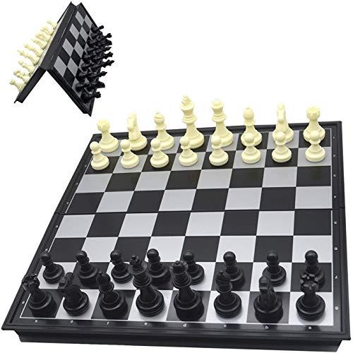 PANQQ Juego de ajedrez de Viaje, Piezas de ajedrez, Piezas de ajedrez magnéticas Plegables - 25 * 12,5 * 4 cm