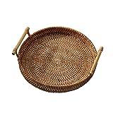 GJRFYJ Cfslp Bandeja de Almacenamiento de ratán Redondo Cesta de Mimbre Tejida a Mano con Mango para Pan de Frutas de Pan Desayuno Mostrar cestas de Almacenamiento