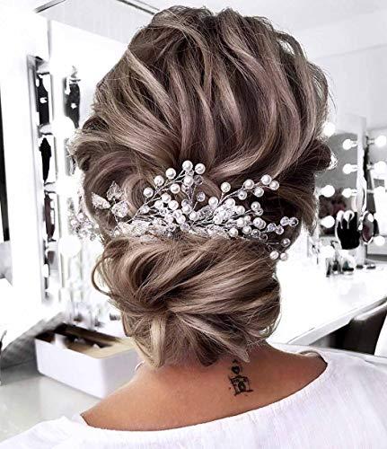 Unicra novia boda perla pelo vides cristal Babys aliento tocados boda accesorios para el cabello para mujeres y niñas (oro)