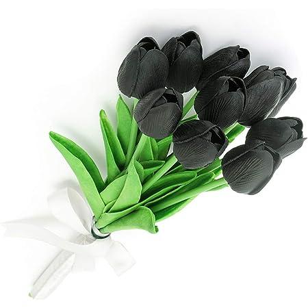 JUSTOYOU 10 Piezas Real Touch Artificial Látex Tulipanes Flores Tulipanes Falsos Flores Ramos de Boda para la Boda Decoración del jardín del hogar Negro
