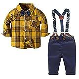 Ropa de bebé recién Nacido Camisa a Cuadros para niño + Pajarita + Tirantes + Pantalones 4 Piezas Traje de cumpleaños Ropa de Fiesta (Amarillo , 6-9 Meses)