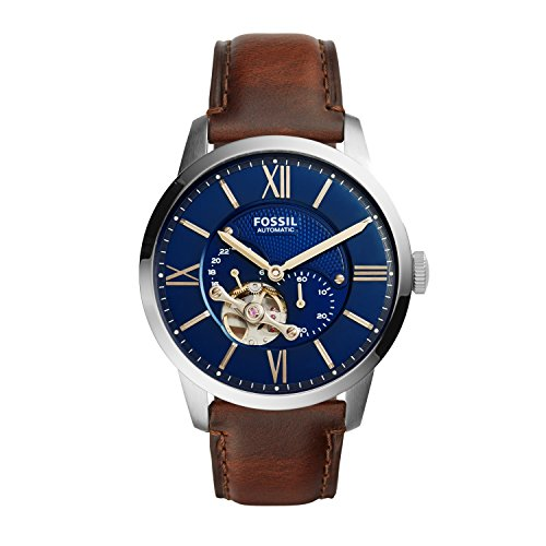 Fossil Men's Townsman Auto Automatic Leather Multifunction Watch, Color: Silver/Blue, Cognac (Model: ME3110)