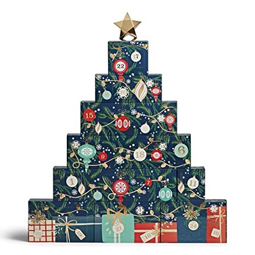 Yankee Candle Calendrier de l'Avent Arbre | 3 petits pots, 10 bougies votives, 18 bougies chauffe-plat, 1 coupe-mèche, 1 éteignoir et 1 photophore | Compte à rebours jusqu'à Noël
