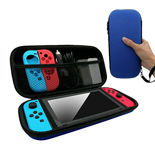 Fyoung Carry Case Compatible With Nintendo Switch - Protective Hard Portable Travel Carry Case Shell Pouch for Nintendo Switch and Accessories - Blue
