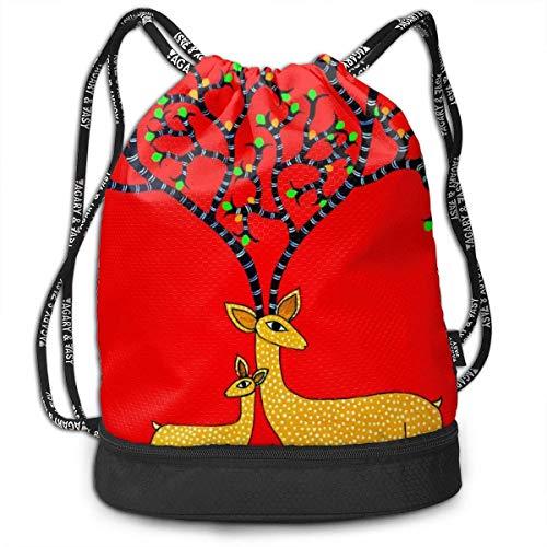 FedoraSale Elk Under The Tree Print Unisex Drawstring Bag Stylish Lightweight Sackpack Sport Gym Bundle Backpack One Size