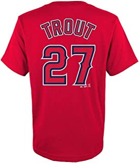 Outerstuff Mike Trout Los Angeles Angels #27 Red Youth Name and Number Jersey T-Shirt