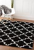 Super Area Rugs Modern Geometric Design Soft Shag Rug, Black & White, 3' x 5'